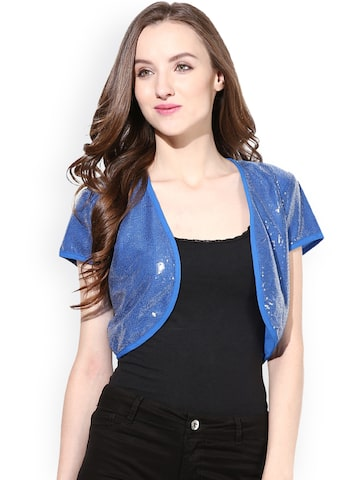 The Vanca Blue Sequinned Shrug at myntra