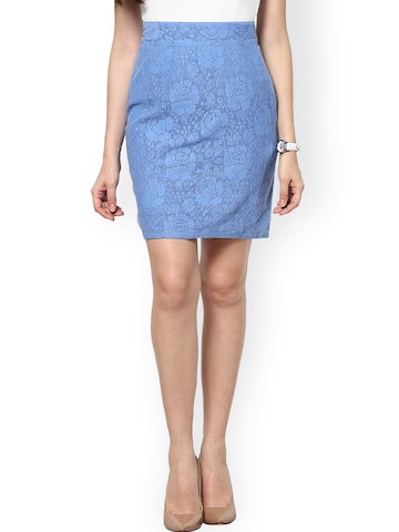 Abiti Bella Blue Lace Pencil Skirt at myntra