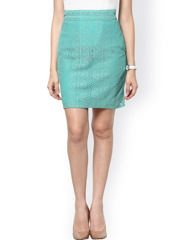 Abiti Bella Green Lace Pencil Skirt at myntra