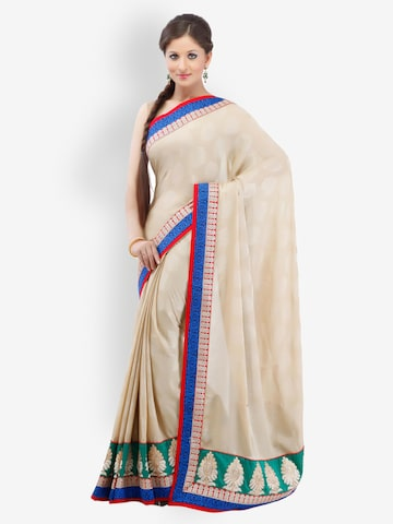 Chhabra 555 Beige Embroidered Georgette Fashion Saree at myntra
