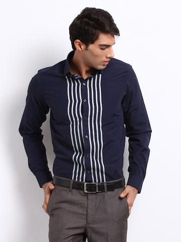 excalibur men navy striped semiformal shirt