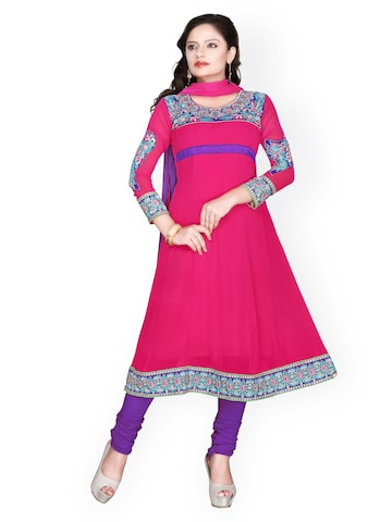 Florence Pink & Purple Georgette Semi-Stitched Anarkali Dress Material at myntra