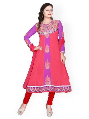 Florence Pink & Red Georgette Semi-Stitched Anarkali Dress Material at myntra