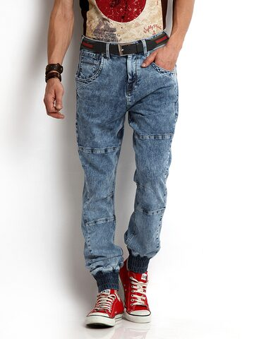 Flying Machine Men Blue Joggers Slim Straight Fit Jeans at myntra