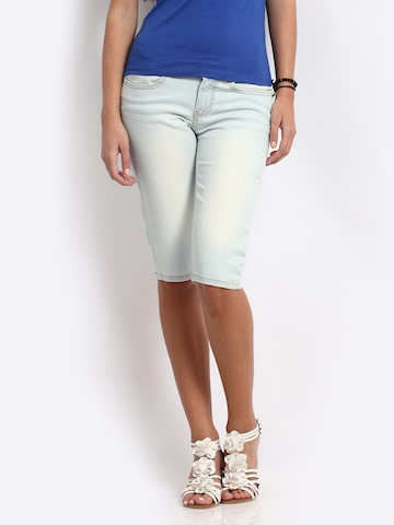 Jealous 21 Women Light Blue Cropped Denim Capris Jealous 21 Capris at myntra