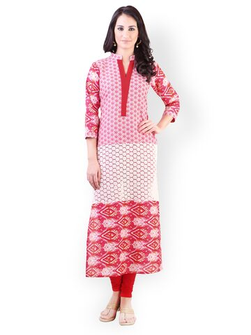 Libas Women Pink & White Printed Kurta at myntra