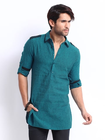 6f8ad689d94 The Indian Garage Co Men Teal Blue Linen Blend Kurta available at Myntra  for Rs.