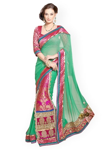 Triveni Green & Pink Embroidered Georgette Partywear Saree available at Myntra for Rs.1995