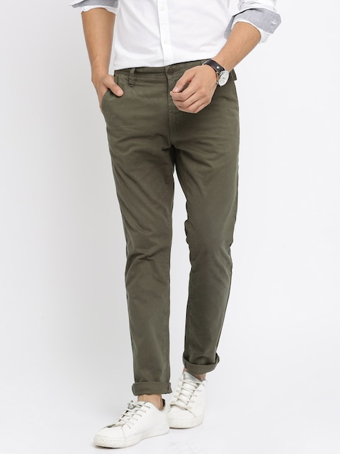 Mast & Harbour Olive Green Slim Trousers
