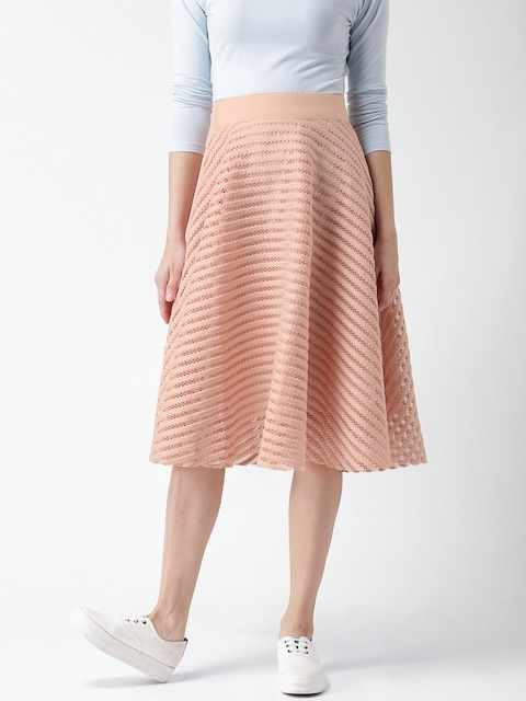 Buy New Look Peach Coloured Self Striped A Line Midi Skirt ...