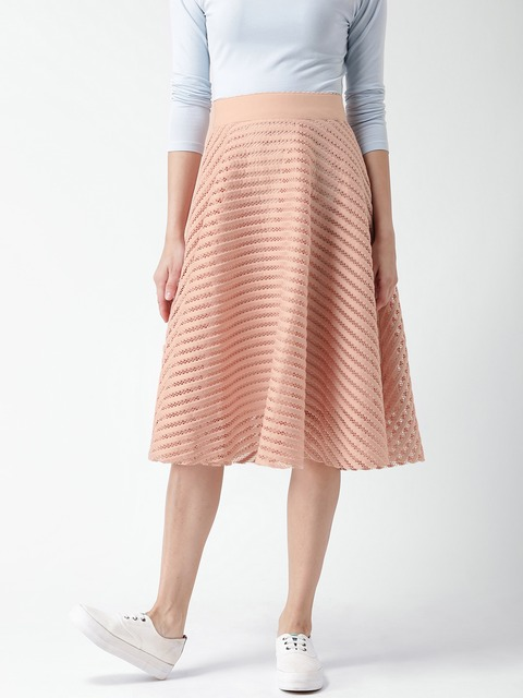 Buy New Look Peach Coloured Self Striped A Line Midi Skirt ...