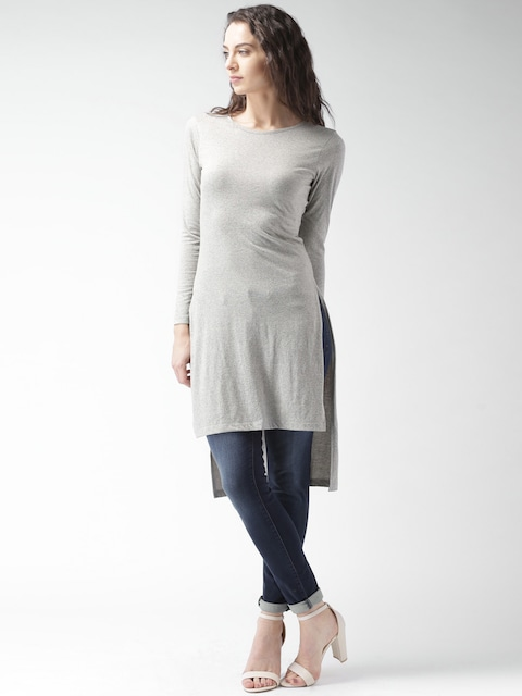 The Festive Shop!! 30-60% Off on New Arrivals   Mast & Harbour Women Grey Melange Round Neck Longline T-Shirt By Myntra @ Rs.629
