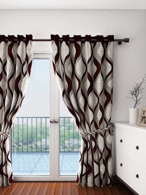 Curtains Ideas beige and brown curtains : Buy Cortina Beige & Brown Single Patterned Blackout Door Curtain ...