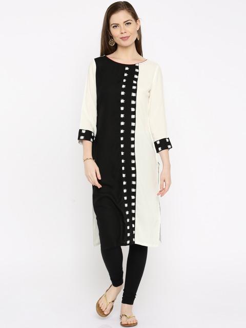 Minimum 50% Off On Anouk Products By Mynta | Anouk Women White & Black Colourblock Ikat Woven Design Straight Kurta @ Rs.600