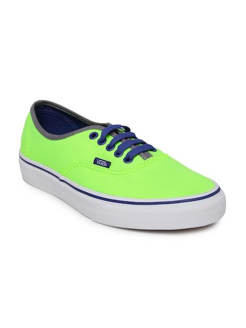 Vans Unisex Fluorescent Green Solid Sneakers