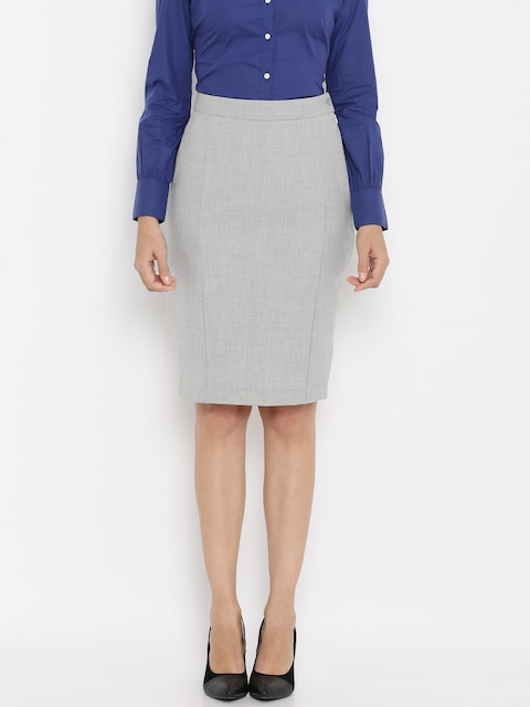 Buy Van Heusen Woman Grey Formal Skirt - Skirts for Women | Myntra
