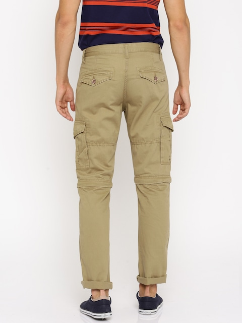 Buy RIG Men Khaki Solid Regular Fit Detachable Cargo Trousers ...