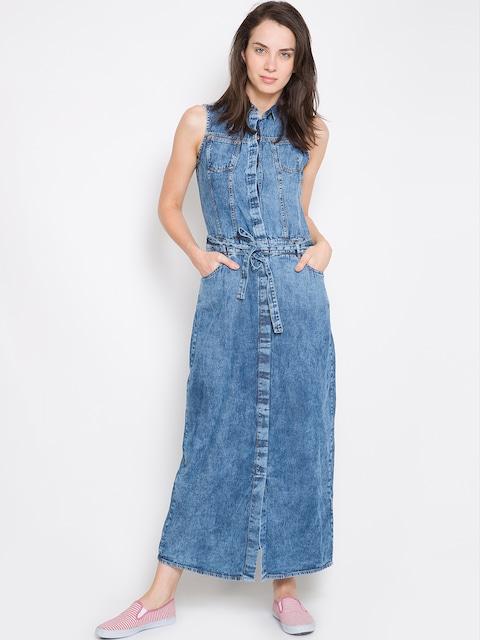The Denim Fest!! Upto 60% Off On Men & Women Wear By Myntra | Tokyo Talkies Women Blue Solid Shirt Dress @ Rs.1,024