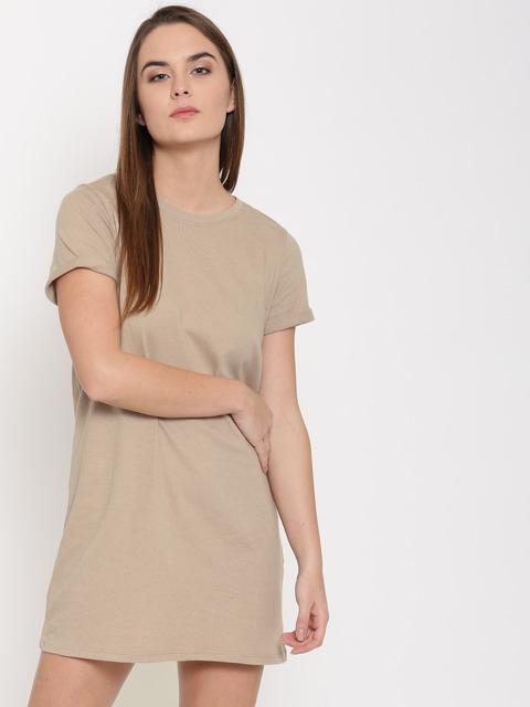 Buy FOREVER 21 Women Beige Solid T Shirt Dress - Dresses for Women ...