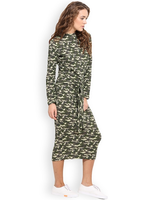 Women Multicoloured Camouflage Print Sheath Dress
