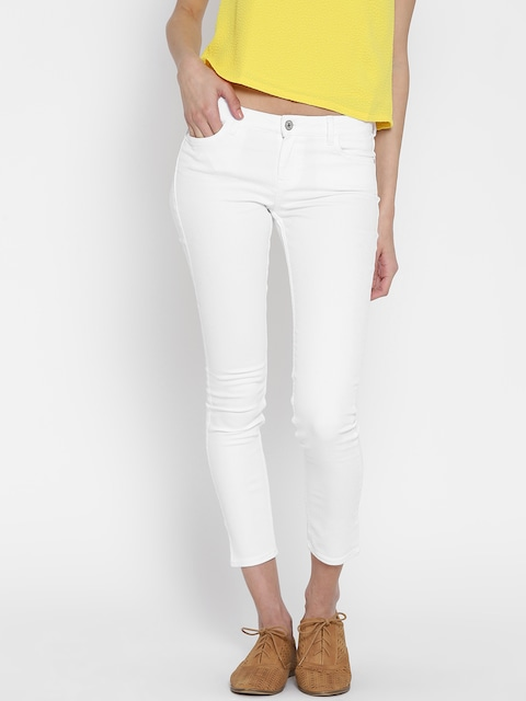 Buy MANGO Women White Skinny Fit Low Rise Clean Look Cropped Jeans ...