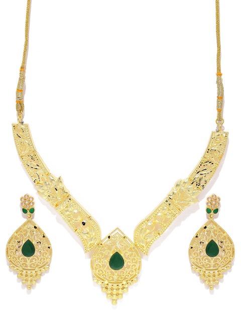 Get best deal for Zaveri Pearls Gold-Toned Embellished Jewellery Set at Compare Hatke