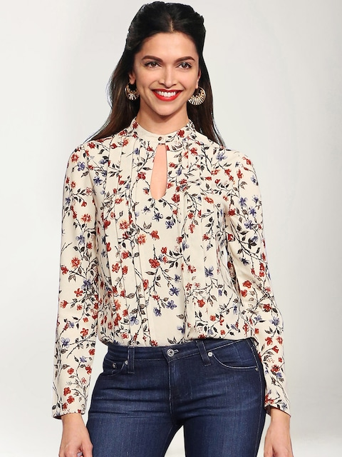 1ST ANNIVERSARY SALE!!! Flat 30% Off On New Arrivals By Myntra | All About You from Deepika Padukone Beige Floral Printed Top @ Rs.1599