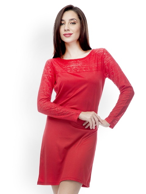 Buy 499 Red Shift Dress - Dresses for Women | Myntra