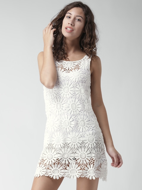 Buy FOREVER 21 Off White Crochet Sheath Dress - Dresses for Women ...