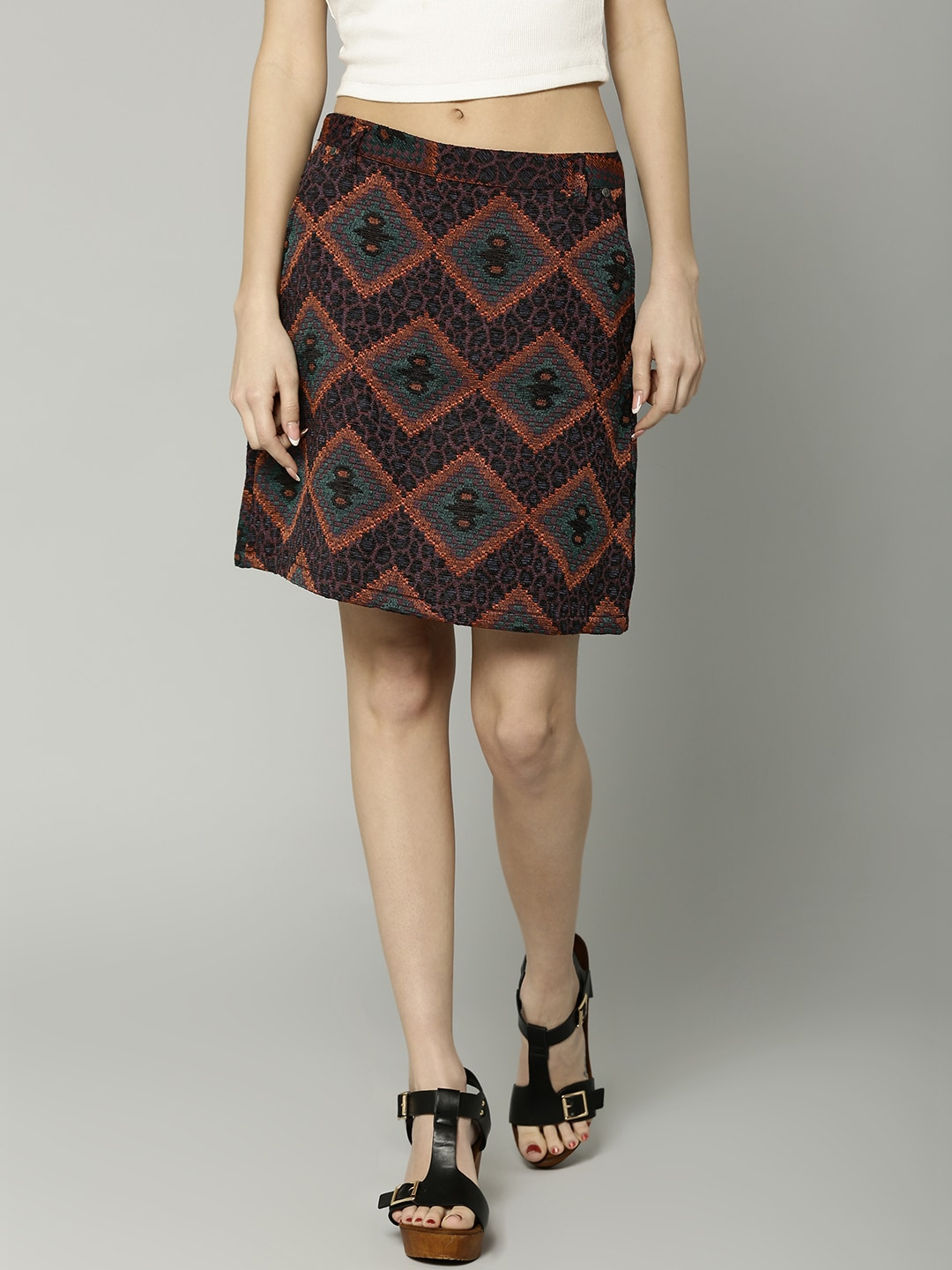 ddcf3ff33 Marks and spencer 4216-orange-mix Multicoloured Jacquard A Line Mini Skirt-  Price in India