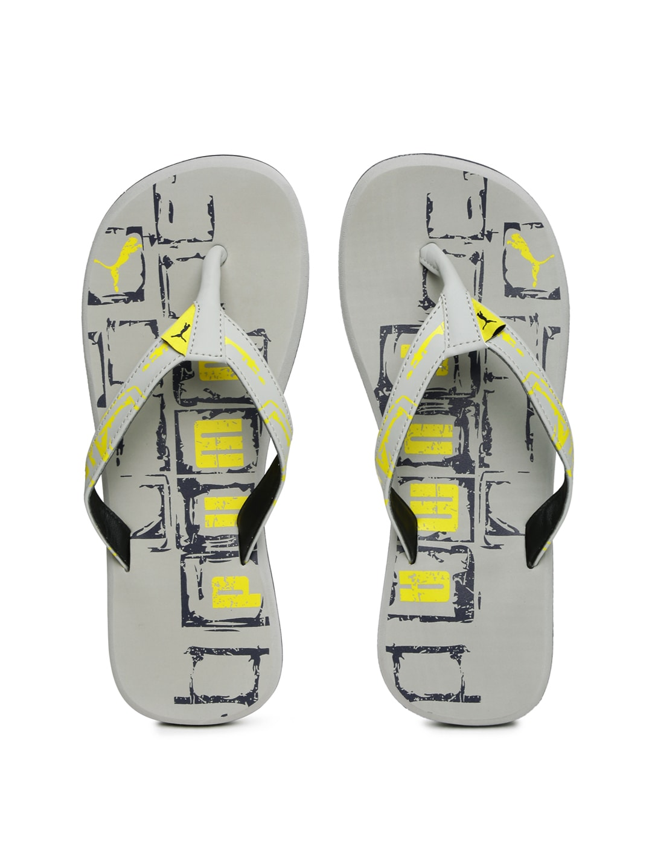 43a69d820a5d Puma 36077904 Men Grey And Yellow Printed Kongo Iii Dp Flip Flops- Price in  India