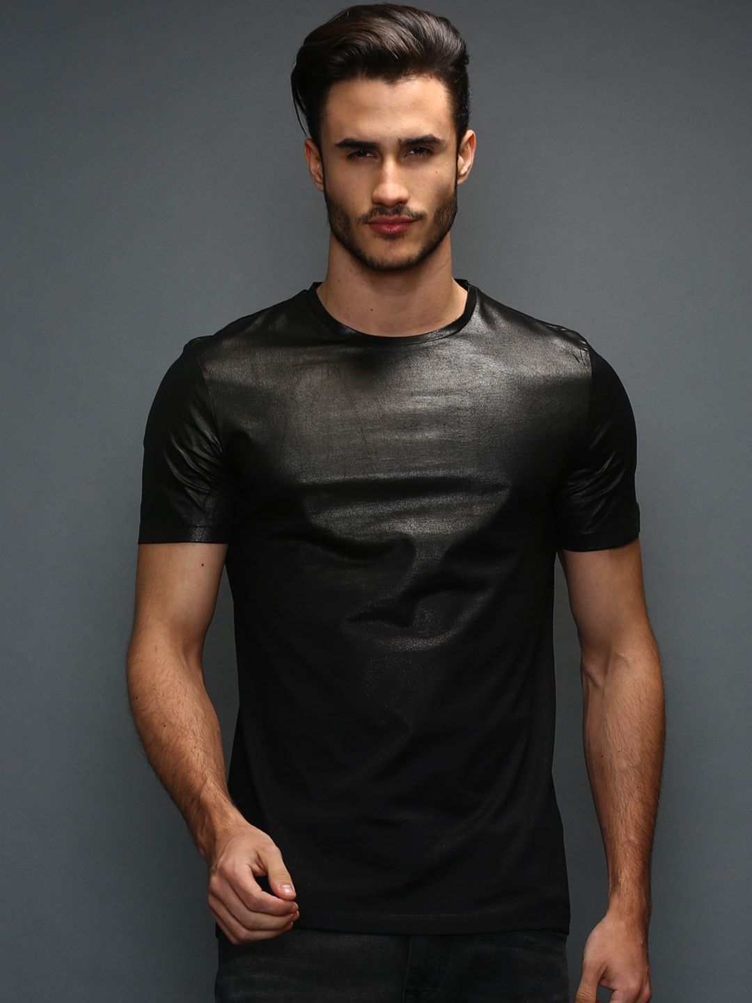 5bfd7cba Antony morato mmks00678-9000 Black Collection Leather T Shirt- Price in  India