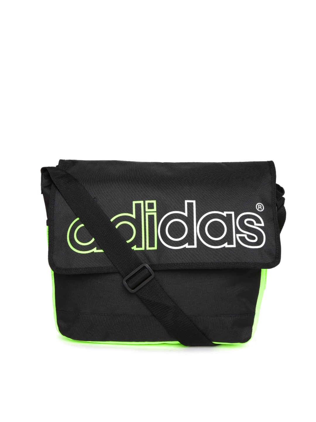2a86c74d10a1 Adidas neo ak2369 Men Black And Neon Green Messenger Bag- Price in India