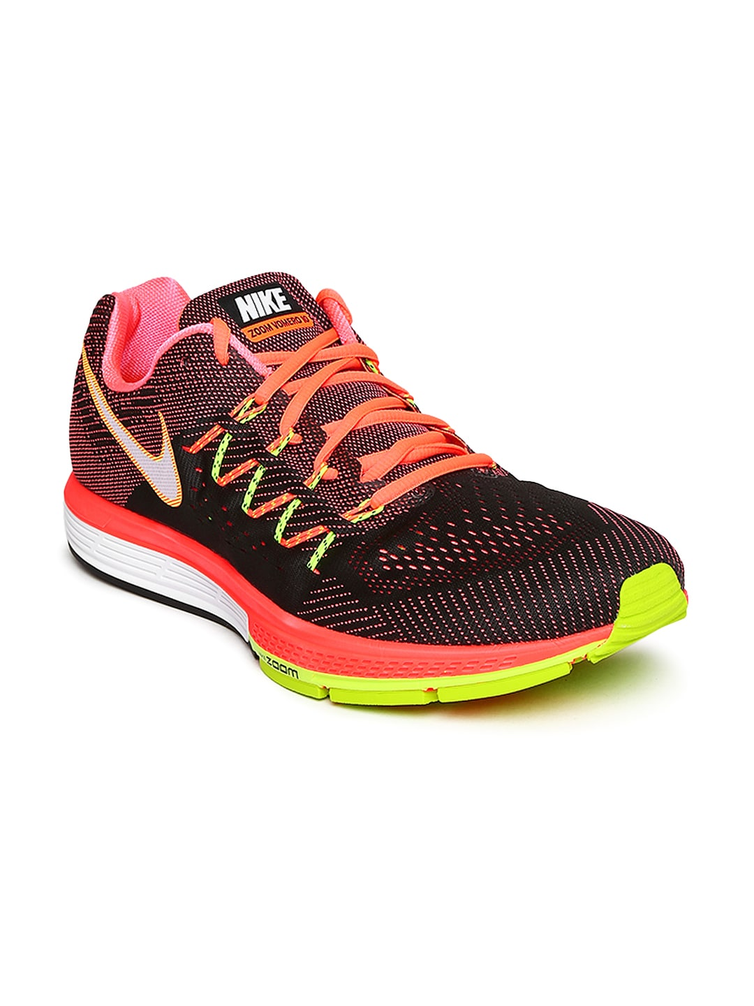 ab6b7063874da Nike 717440-800 Men Black And Fluorescent Pink Air Zoom Vomero 10 Running  Shoes- Price in India