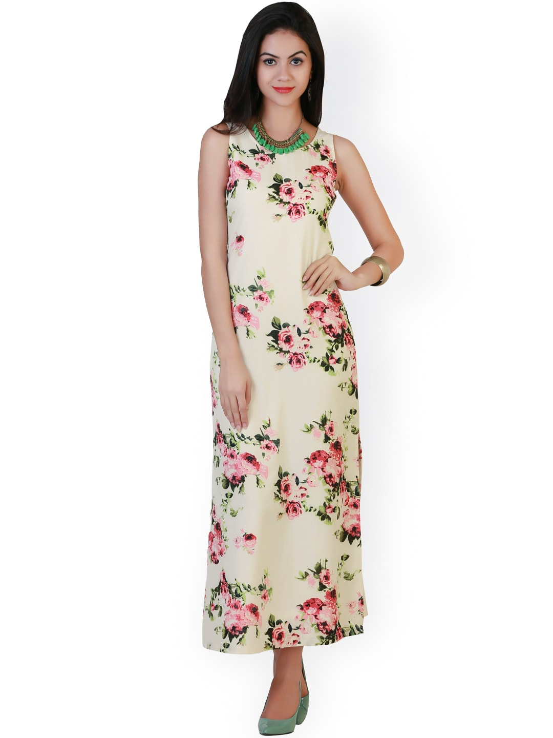 adfddbc30c8 Buy Belle Fille Cream Coloured   Blue Polyester Georgette Maxi Dress ...