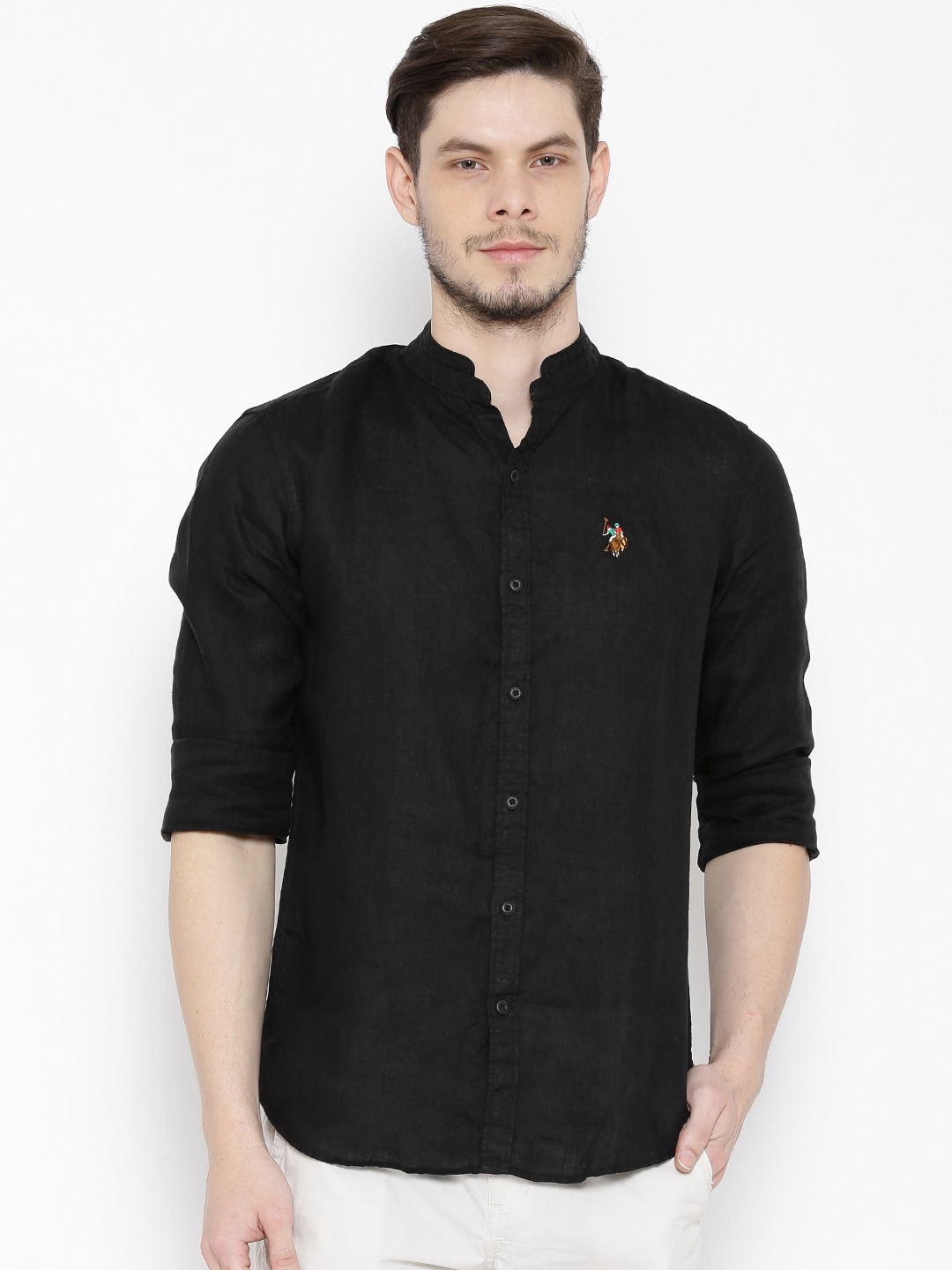 e4718557b Us polo assn ussh4205 Black Linen Casual Shirt - Best Price in India ...