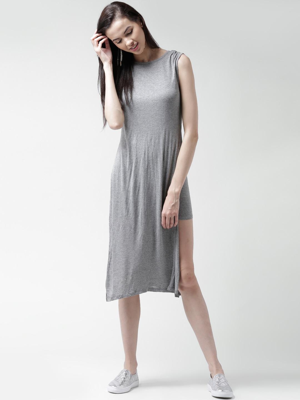 707e43e3ef6d Forever 21 172705-grey Grey Melange Midi Dress - Best Price in India ...