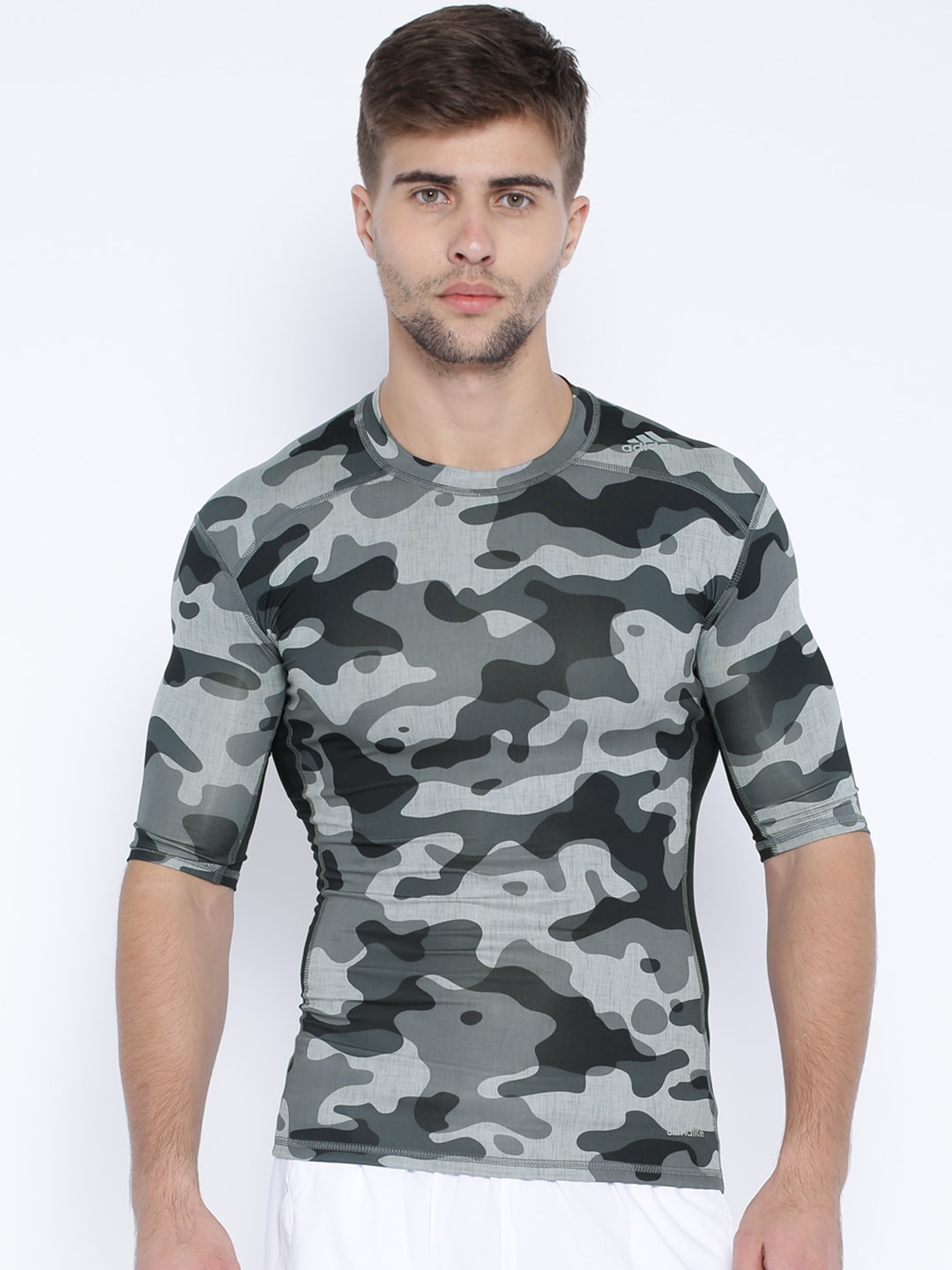 bc82575b4 Adidas aj4976 Black And Grey Techfit Base Camouflage Print Compression T  Shirt- Price in India