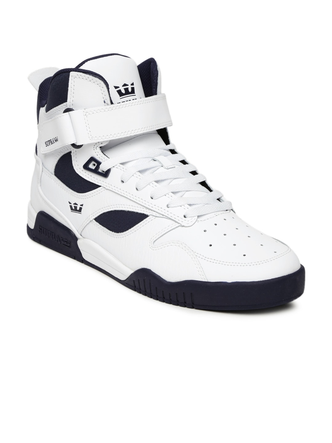 reputable site 8fa61 00097 Supra 08093-143 Men White And Navy Bleeker Leather Sneakers- Price in India