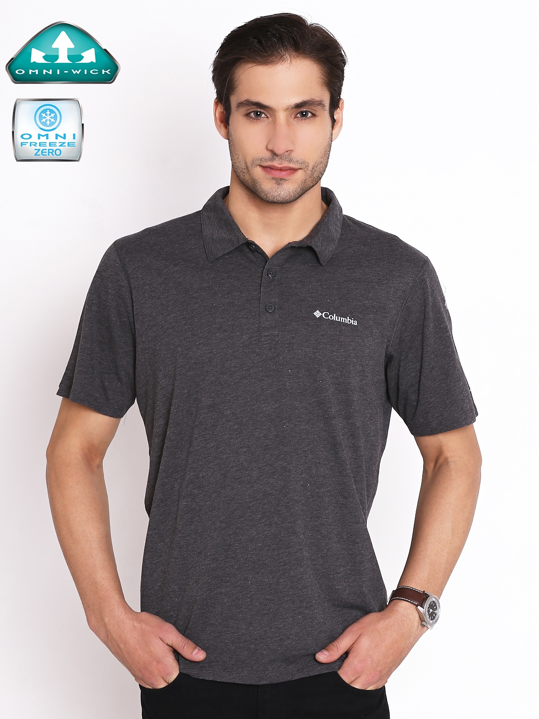 6d8f23d6606 Buy Columbia Grey Tech Trail UV Protect Outdoor Polo T Shirt ...