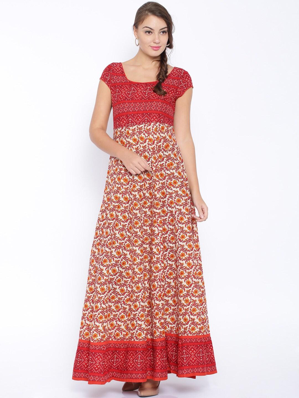 6bb694b507a Vishudh vnku004388 Off White And Red Floral Print Anarkali Kurta- Price in  India