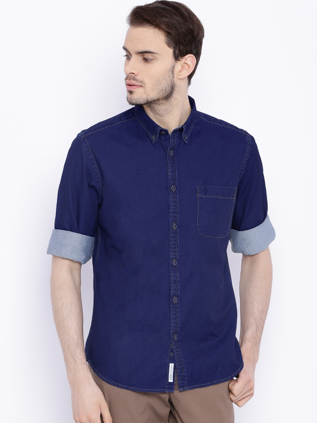 36d98820849 Indian terrain its wash navy denim slim fit smart casual shirt price in  india jpg 1080x1440