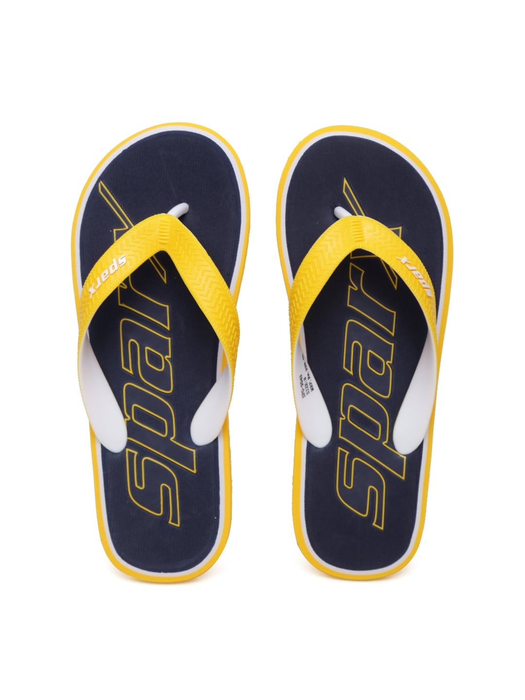 79273e55b737 Sparx sf2043g-blue-yellow Men Yellow And Navy Textured Flip Flops- Price in  India