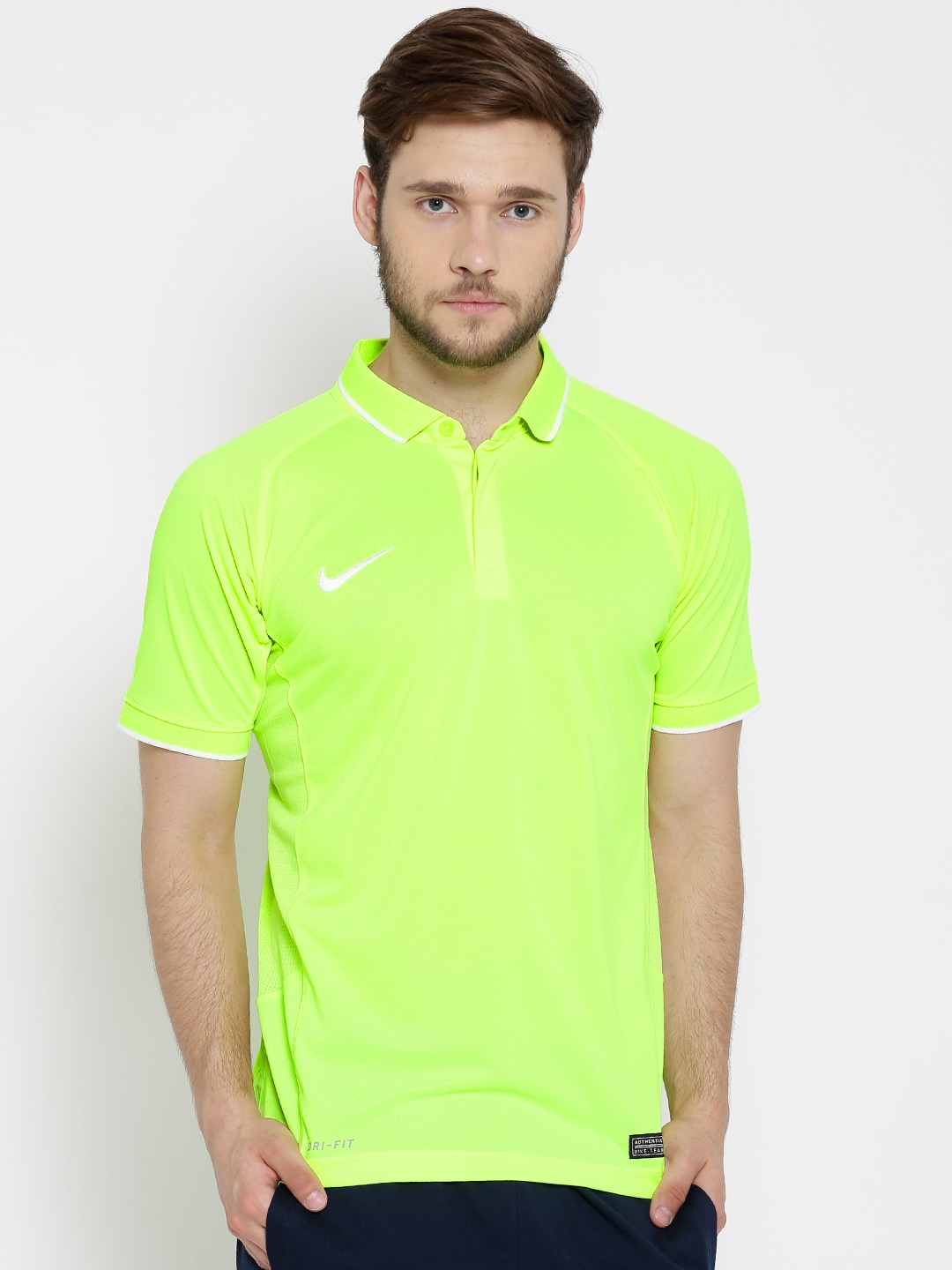 Nike 696754-702 Fluorescent Green As Em Ts Hitmark Polyester Cricket Polo T  Shirt- Price in India