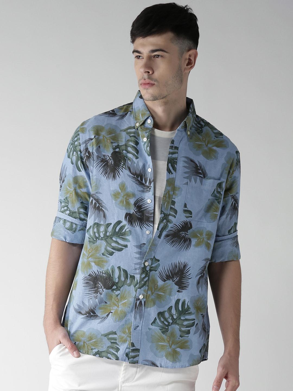 435268d5d1f5b Buy Tommy Hilfiger Men Blue Printed Chambray Shirt - Shirts for Men ...