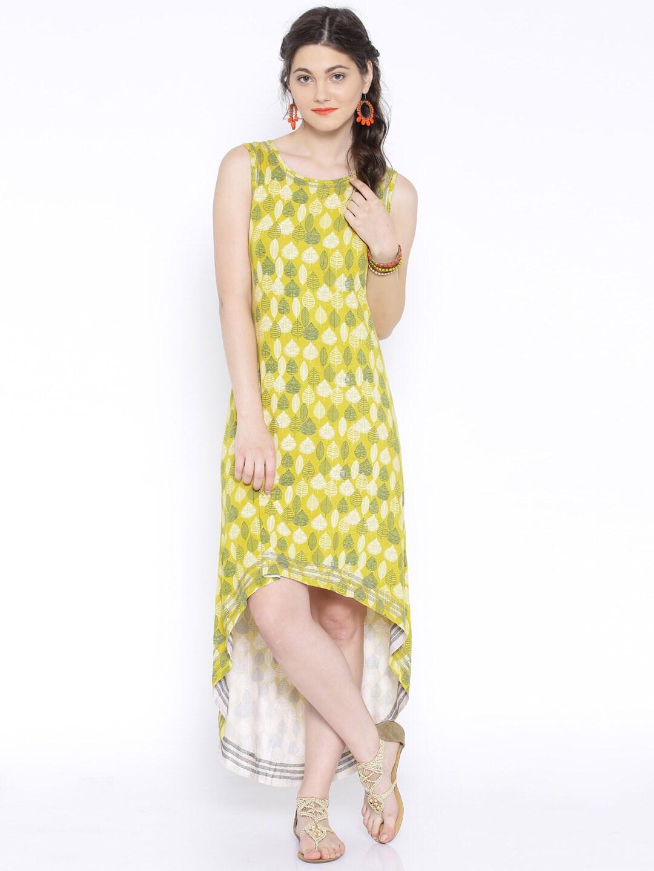 ddba7baa86c Global desi 50643-dr-53vl-yellow Yellow And Green Printed High Low Maxi  Dress- Price in India