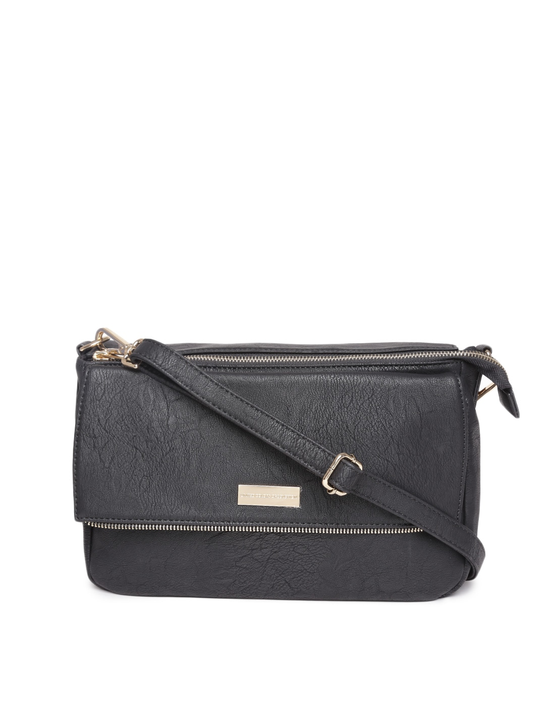 United colors of benetton 15a6pu1d9134i-100 Black Textured Sling Bag- Price  in India 3eb59e02bb