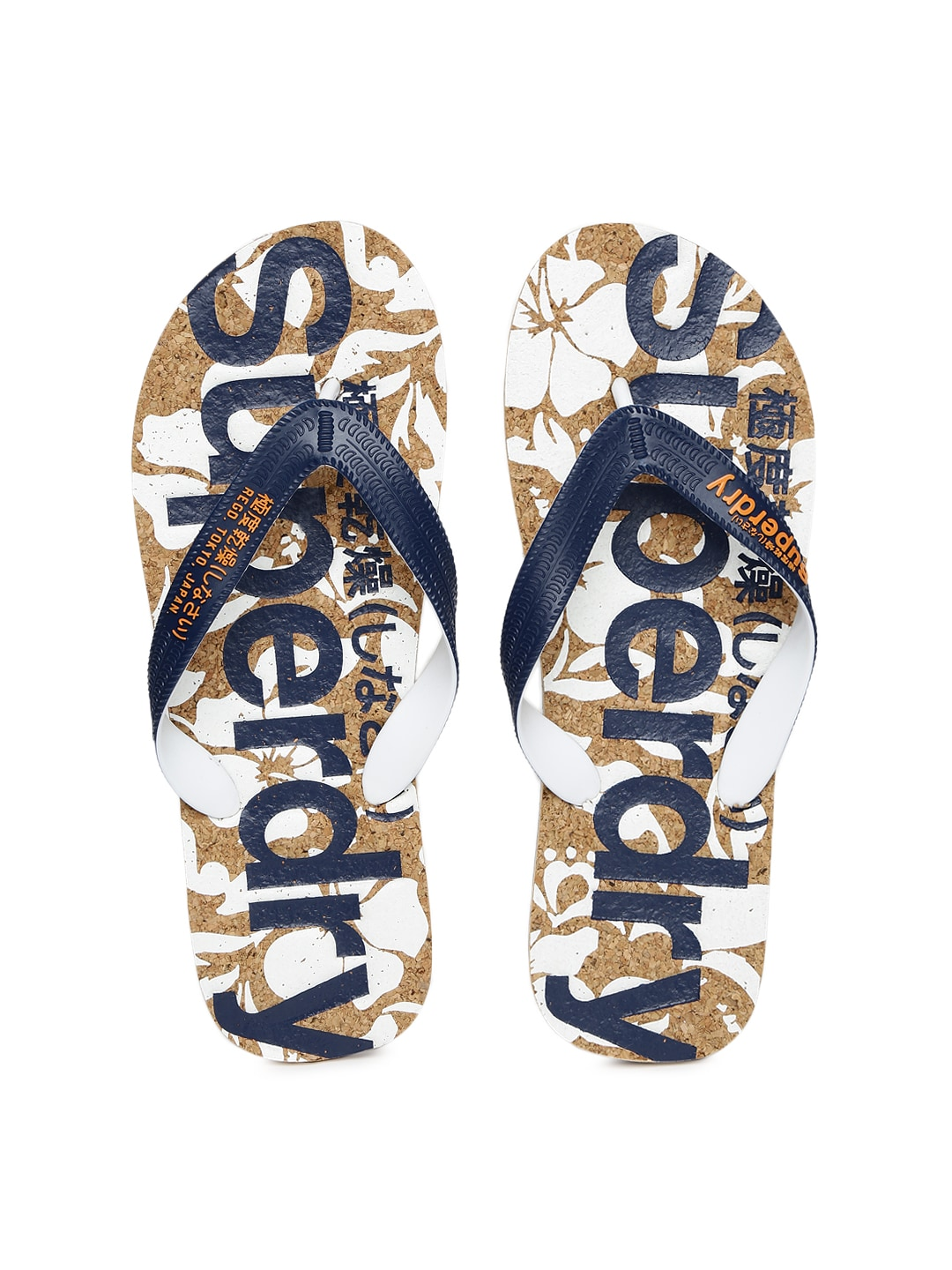 cf6b8ca8ae17 Superdry mf3ms005 Men Navy And Brown Printed Flip Flops- Price in India