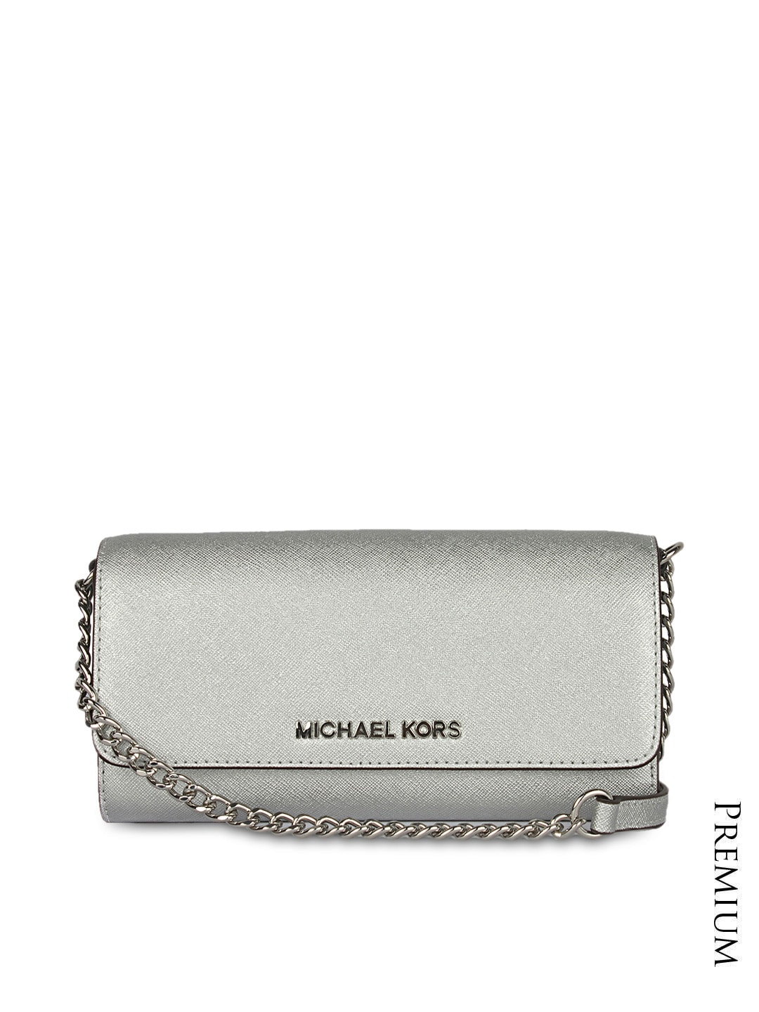 2010411a3654ee Michael kors 7030-silver Women Silver Toned Textured Leather Sling Bag-  Price in India