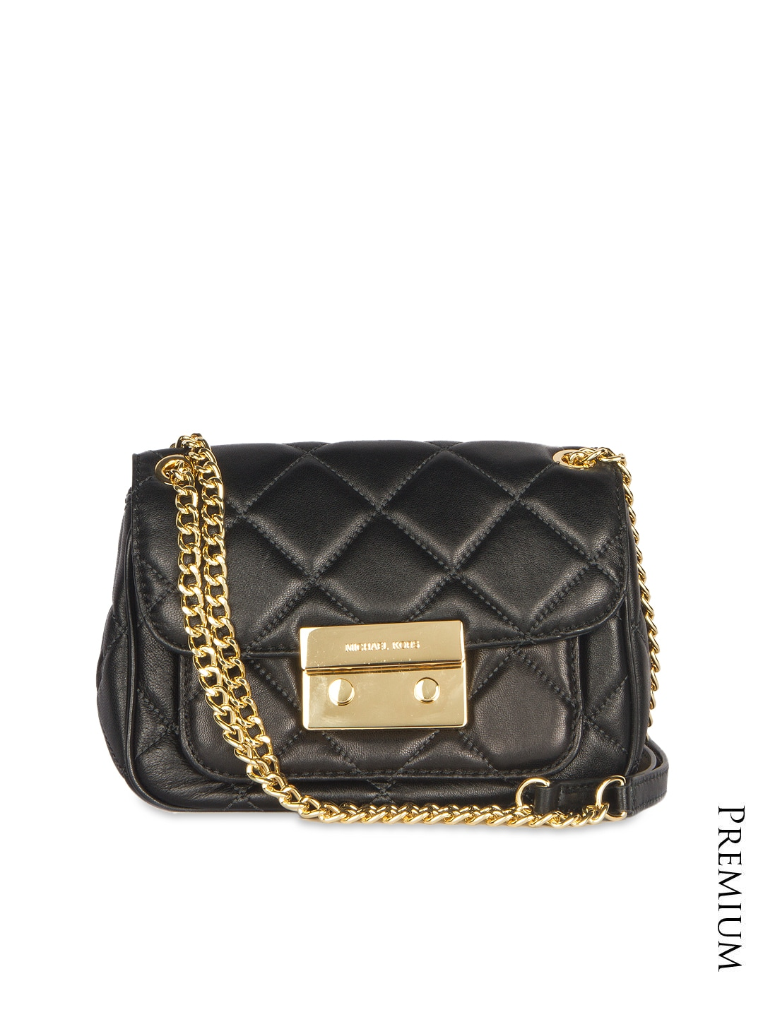 bbe4257c6a92 Michael kors 7247-black Black Quilted Leather Sling Bag - Best Price ...